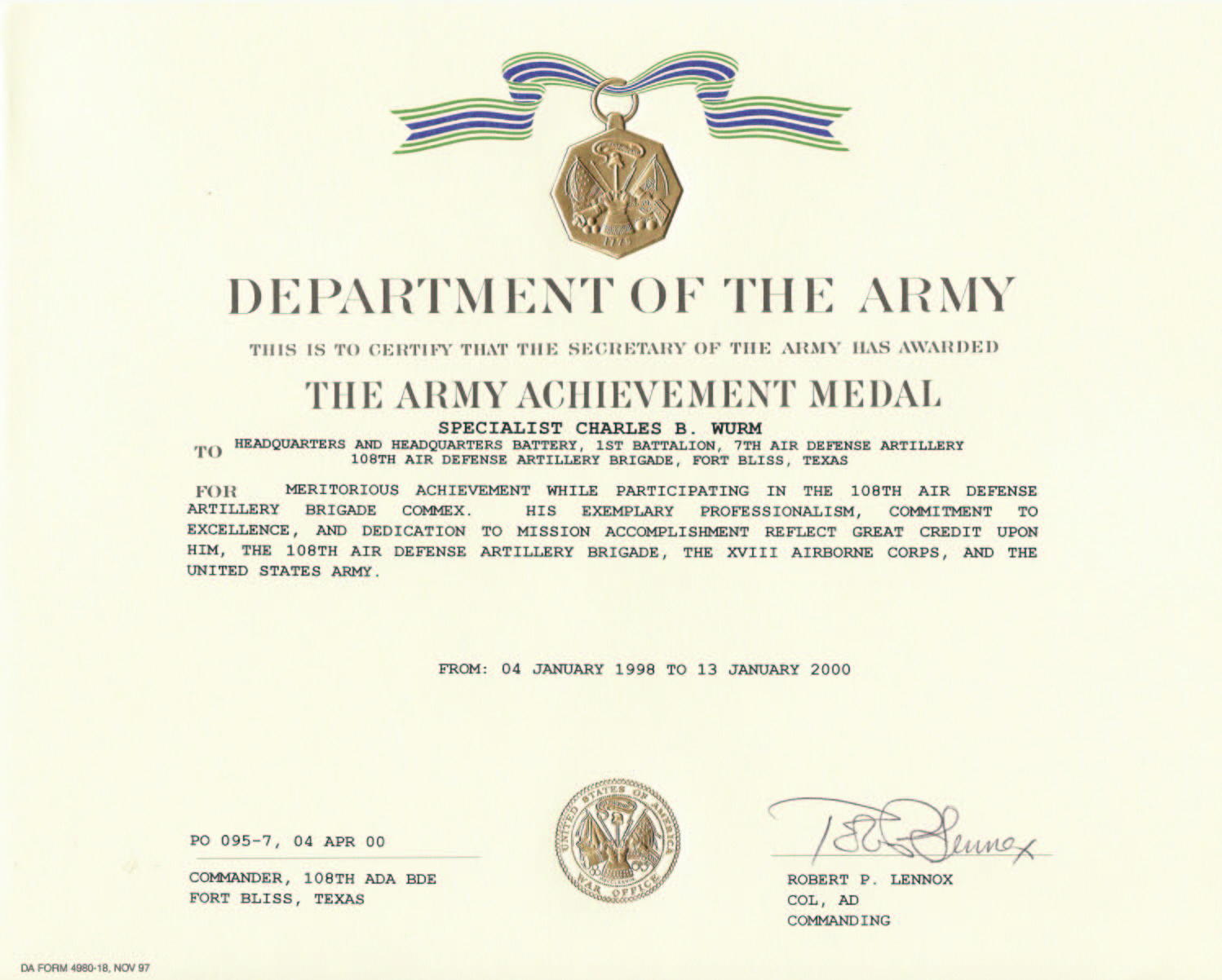 Education Awards – Army Certificate of Achievement Template