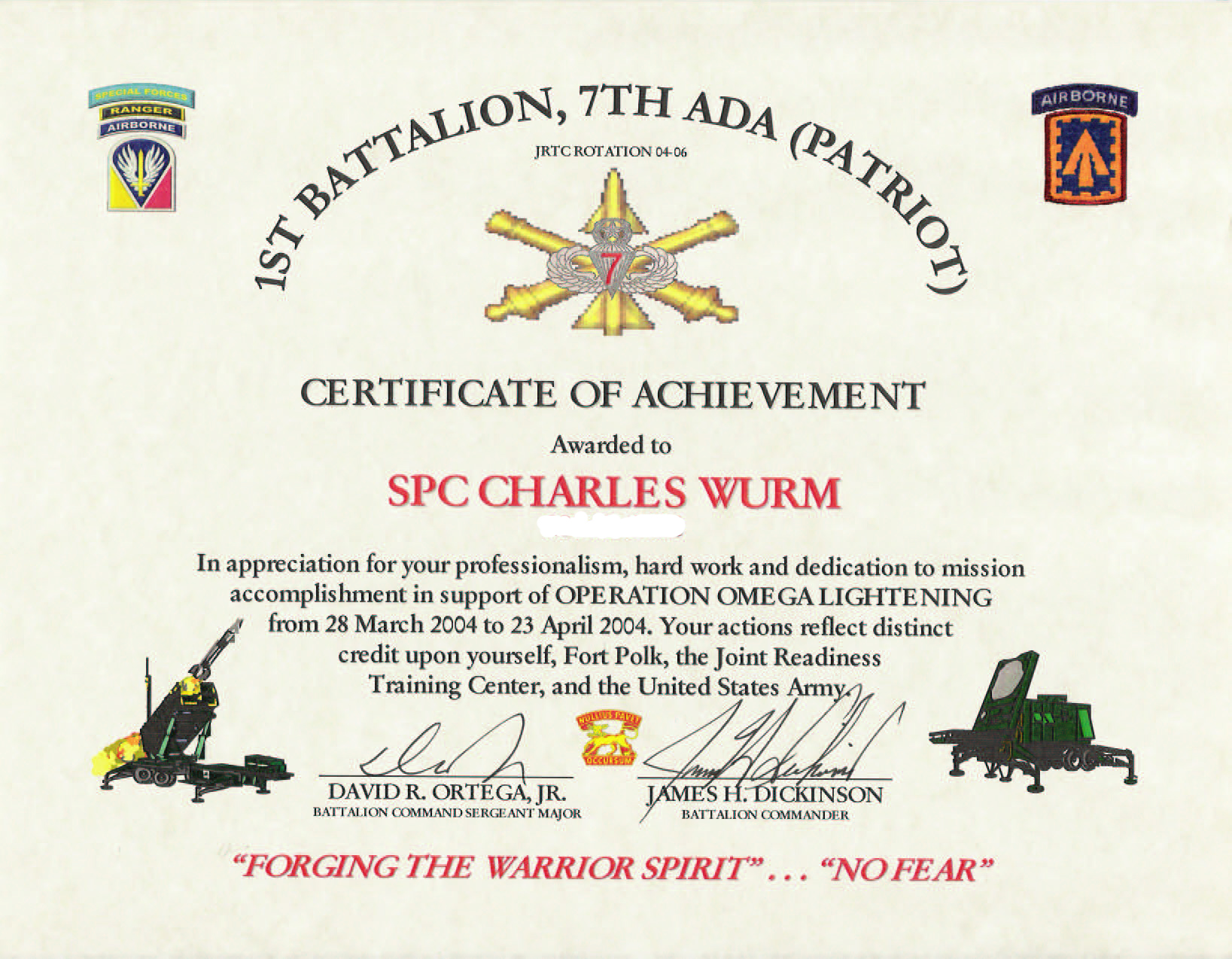 Education Awards – Army Certificate of Appreciation